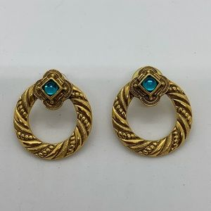 Vintage 1928 Earrings Hoop Antiqued Gold Tone